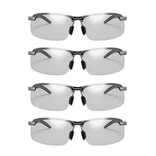 JTeam Gafas De Sol Polarizadas For Hombre 4 Pares Lentes Fotocrómicas Gafas Deportivas Conducción Y Ciclismo (Color : Gun metal)