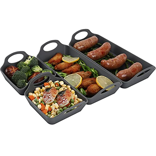 Silicone Baking Sheet Pan Dividers,Sturdy Heatproof Handles Nonstick Tray,Cooking Reimagined,Reusable Bakeware Set for Meal Prep,Easy to Clean,Air Fryer,Oven Safe