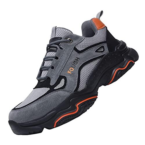 Aingrirn Zapatos de Seguridad Hombre Mujer Punta de Acero Zapatos Ligero Transpirables Zapatos de Trabajo Cómodos (Color : Grey, Size : 44 EU)