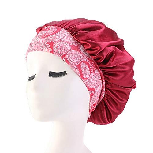 Women's Beauty Salon Sleep Cap Cap Hair Hat Hat Silk Head Loose Elastic Band Curly Spring Hair Chemical Cap New National Wind Elastic Hair Band Sleeping Cap