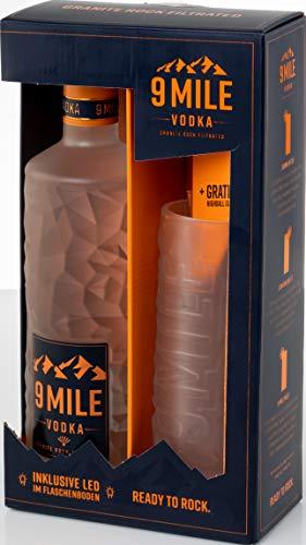 9 Mile Vodka Wodka 0,7l LED beleuchtet im GP mit Highball Glas