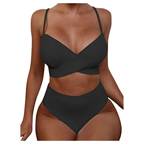 VODMXYGG Mujeres Sexy Color Sólido Bikini Traje de baño de Dos Piezas de natación Beachwear Mujer Brasileños Bikinis 0916316