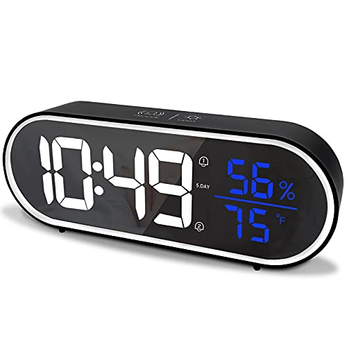 Digital Alarm Clock for Bedroom - Dual Alarm Clock Radio with LED Time Thermometer and Hygrometer, Easy to Read Loud Alarm Clock for Bedroom, Study, Office(Black)
