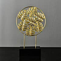 SQINAA彫刻置物像アートオーナメントカップルの結婚記念日のための手工芸品のユニークなデザインセンス植物の形,Leaves holes m