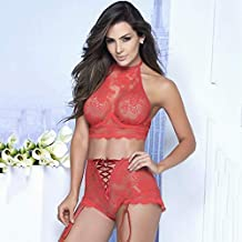 Underwear Sexy Lace Push Up Bra Sets Bra+panties Lingerie Wire Free Sexy Transparent Lace Underwear (Color : Red, Cup Size : XXXL)