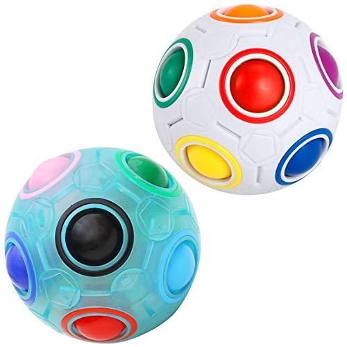 KidsPark 2 Stück Magic Ball Regenbogen Ball Zauberwürfel 3D Puzzle Ball Speed Cube Würfel Regenbogenball Toy Pädagogische Spielzeug Weiß + Leuchtend