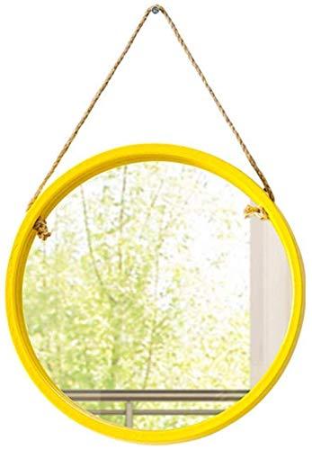 YO-TOKU up spiegel compacte spiegel Small Wall-Mounted Spiegels 11,2 inch in diameter, Moderne Modieuze Ronde hout spiegel met Opknoping Touw, Decor van het Huis for de badkamer, Boerderij, slaapkamer