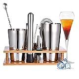 Viugreum Set Cocktail 11 Pezzi, Shaker Cocktail Kit da Barman Professionale in Acciaio Inox, 600ML Shaker, Set Strumenti Bar, Cocktail Set con di Legno Supporto, per Casa E Bar