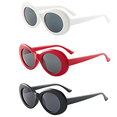 3 Piezas Gafas de Sol Ovaladas, Gafas Sol Retro Ovaladas, Moda Gafas Sol Ovaladas, Gafas de Sol Clásicas Ovaladas, Unisex Gafas de Sol Ovaladas, para Sombrear, Decoración, Mascarada (3 Colores)