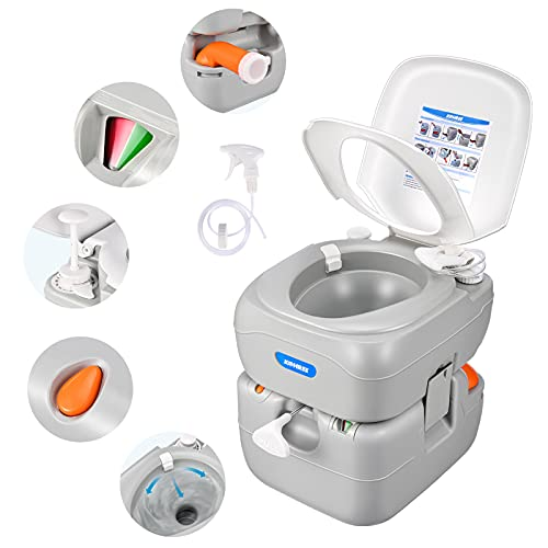 Kohree Portable Toilet Camping Porta Potty, 5.8 Gallon Waste Tank, Indoor Outdoor Composting Toilet with CHH Piston Pump and Level Indicator, Leak-Proof Cassette Toilet for RV Travel, Boat and Trips.