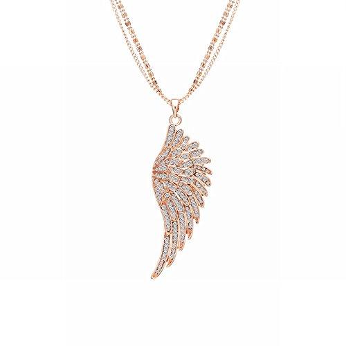 Individualiteit Diamant Engel Vleugels sleutelbeen ketting veer hanger trui ketting rose goud