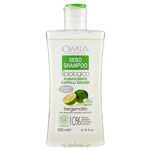 Omia Therapy Sebo Shampoo Eco Bio al Bergamotto, Capelli Grassi e Fragili con Dermatite Seborroica,...