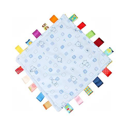 G-tree taggie Balnket, Chiffons bébé Couverture Teething Teething pour bébé bébé, Carrés en peluche Consolateur sécurité Couverture (Bleu)