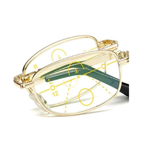 ZZAI Gafas de Lectura Zoom Inteligente Anti-Blue Plegado/Far y Cerca de Gafas de Lectura portátiles de Doble Uso de Doble Uso para Hombres y Mujeres Silver- + 1.5 (Color : Gold, Size : +2.5)