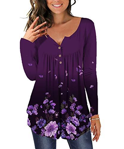 TUDOU Damen T-Shirt Langarm V-Ausschnitt Floral Knopfleiste Plissee Henley Bluse Casual Locker Blumen Tunika Tops(XXL, lila)