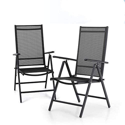 MFSTUDIO Patio Set of 2 Folding Chairs with Arms,Portable Dining Chairs with 7 Levels Adjustable for Outdoor & Indoor, Sling Back Chairs (Black)