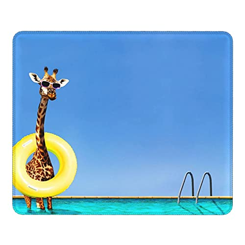 Funny of Giraffe - Tappetino per mouse con ciambella gonfiabile, con bordo cucito e base in gomma antiscivolo, per computer, computer portatile, ufficio e casa, 30 x 20 cm