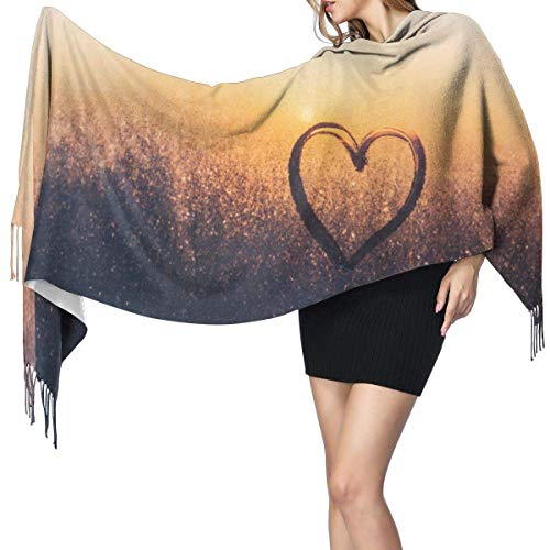 Pashmina Shawls and Wraps Scarf, Drawing In The Shape Of Heart On A Frozen Window On A Sunset Background Women's Fashion Long Shawl Winter Warm Large Scarf Cashmere Scarf