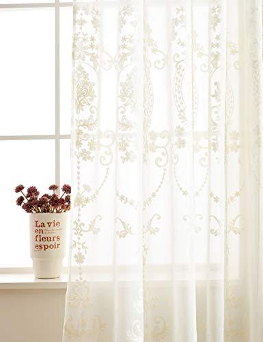 Lactraum Vorhang Wohnzimmer mit Ösen Weiß Tranparent Bestickt Vintage Klassische Voile (Dichte) 200 x 245cm