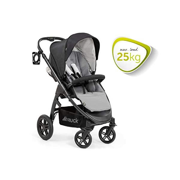Hauck Hauck Unisex Promenade Chaises Black/Grey Hauck Maximum comfort: backrest and footrest adjustable to the lying position, extra large canopy, height adjustable handlebars, cup holders and foot covers All terrain: the stroller is suitable for both the city and the countryside thanks to the suspension, the high-quality rubber profile and the swivel and lockable front wheels. Swivel: The lightweight sports chair with removable front bar can be rotated towards parents or in moving direction easily in a few seconds. The chair supports a weight of up to 25 kg. 4