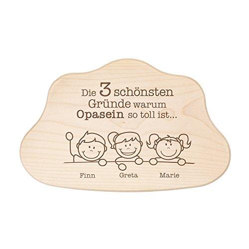 Crazy Kitchen Casa Vivente Wolkenbrett aus Holz mit Gravur – Die schönsten Gründe Warum Opasein Toll ist – Schneidebrett – Personalisiert mit Namen – Vatertagsgeschenk – Geschenke für Männer