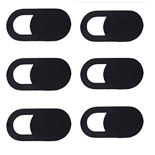 6pcs Webcam Cover Slide Ultra-Thin for Tablet, Laptop, PC, Cell Phone, Smartphones, and More Accessories Protect Your Privacy and Security-Black