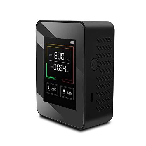 CO2-Kohlendioxid-Detektor Luftqualität Messgerät,PPM Messbereich Intelligenter Lufttester Mit Temperatur-TVOC -Feuchtigkeits-Anzeige, Gaskonzentrationsgehalt TFT-Farbbildschirm