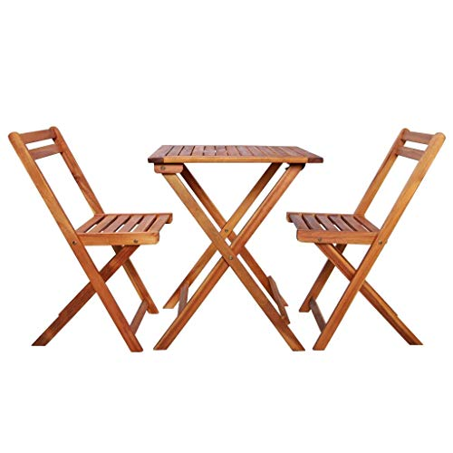 ZAMAX Rustic Style Wood Patio Bistro Set, Weather Resistant Outdoor Folding Garden Furniture Pub Bar Sets for Backyard, Balcony, Porch, Deck, Square Coffee Table