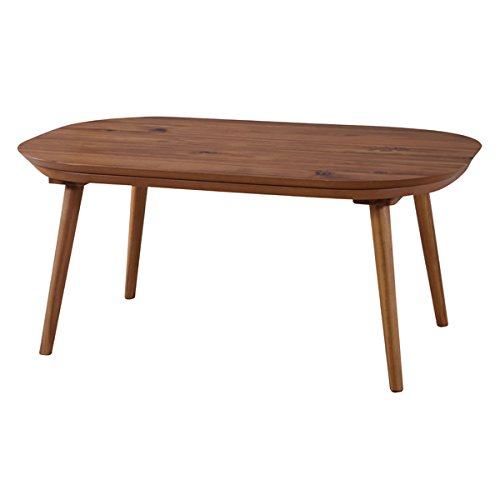 AZUMAYA KT-106 Kotatsu Heater Table, W35.5 x D27.0 x H16.2 Inches, Natural Solid Acacia Wooden Material with Round Corner Shape Table Top, Home and Living, Natural Wooden Color