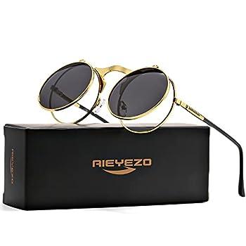 Round Flip Up Sunglasses for Men and Women - John Lennon Glasses 90 s Retro Steampunk Style  Gold/Grey