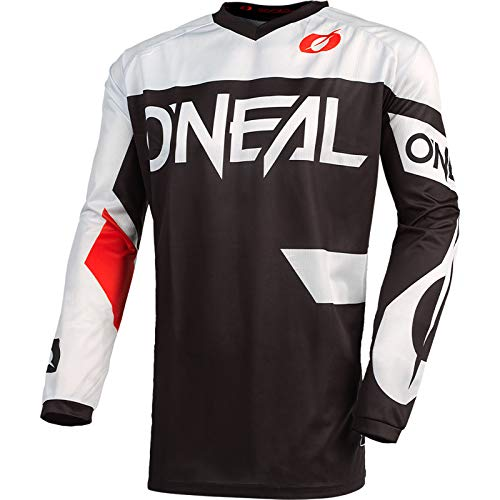 O'Neal | Maglia Motocross | Enduro MX | Tessuto Traspirante, Protezione Gomiti Imbottita, vestibilità per la Massima libertà di Movimento | Maglia Element Racewear | Adulto | Nero Bianco | Taglia S