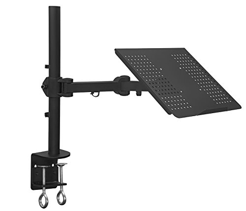 Mount-It! Laptop Tray Desk Mount - Full Motion Height Adjustable Laptop Stand - Vented Cooling Platform Stand Up to 17 Inch Laptops 22 Lb Capacity (MI-3352LT)
