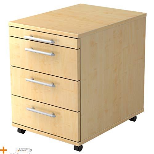 Rollcontainer Schreibtischcontainer Bürocontainer Basic Ahorn-Ahorn Relinggriff