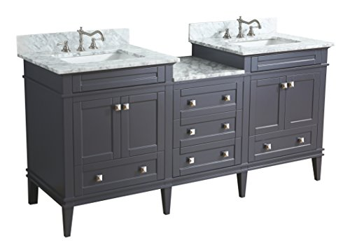 Kitchen Bath Collection KBC-L72GYCARR Eleanor Bathroom Vanity with Marble Countertop, Cabinet with Soft Close Function & Undermount Ceramic Sink, 72