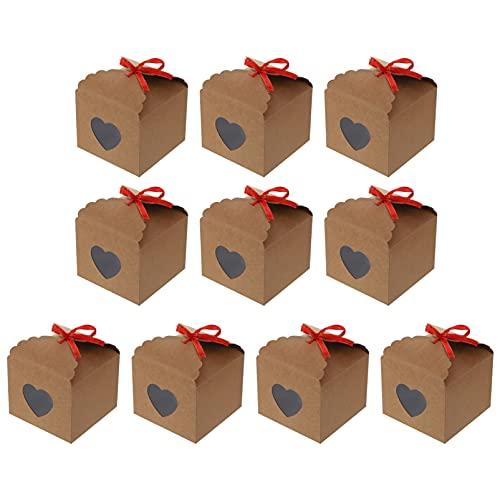 jojofuny 10 Cajas de Cupcakes con Ventana en Forma de Corazón Cajas de Papel Marrón para Manualidades con Contenedor de Galletas de Cinta para La Panadería para Decoración de Fiestas (12.