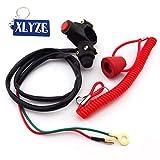 xlyze Engine Kill Stop Tether Closed Interrupteur de sécurité Bouton poussoir pour 2temps Pocket Mini Dirt Bike ATV...
