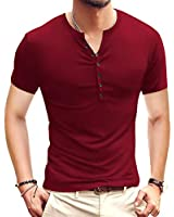 YTD Mens Casual Slim Fit Basic Henley Short Sleeve Fashion Summer T-Shirt S Wine Red
