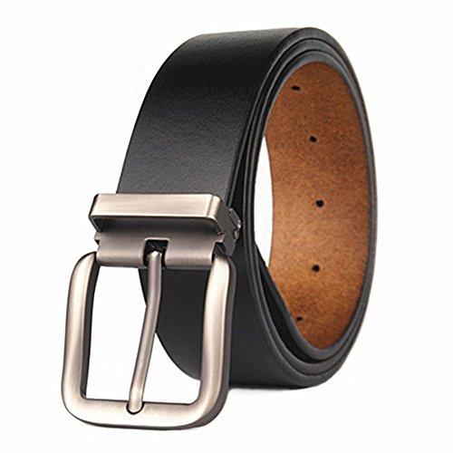 Cinturón para Hombres de Piel Genuina 110cm-180cm Cuero Cinturones Regular & Hombres Grandes y Altos con Ajustable Hebilla Desmontable para Vaqueros, Caqui, Vestido,38 mm … (Ajustable 150 cm, Negr