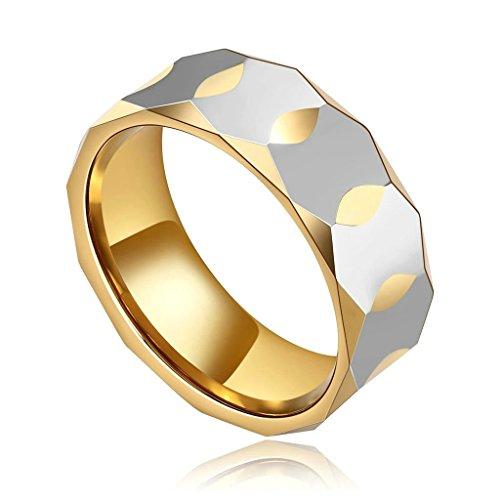 Daesar Joyería Anillo Acero de Tungsteno Hombre Diamante Forma Alianzas Boda Compromiso Pedida Plata Oro Talla 27