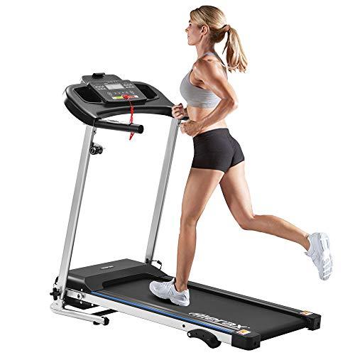 Azkoeesy Laufband klappbar,Laufband Speedrunner elektrisch klappbar 12 km/h, 12 automatische Programme sowie 3 Steigungsstufen, LCD Display
