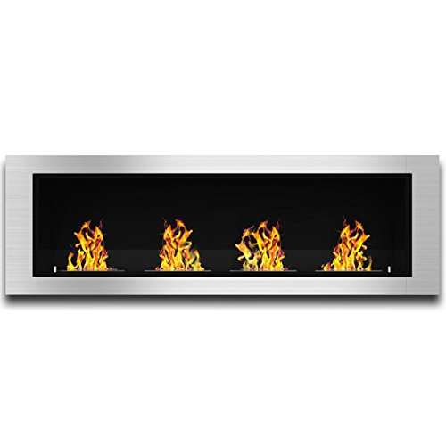 """Regal Flame Indoor Charlotte 64"""" Ventless Built in Recessed Bio Ethanol Wall Mounted Fireplace"""