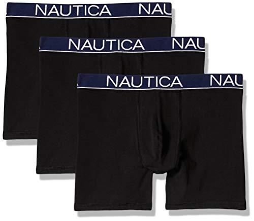 Nautica Men's Cotton Stretch Classic Boxer Brief Multipack, Deep Black, X-Large
