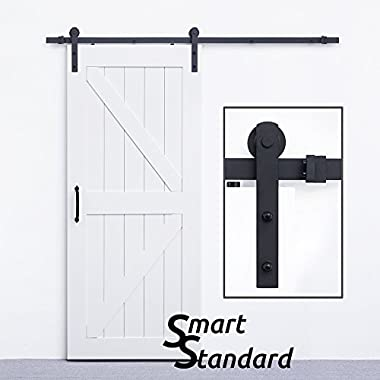 SmartStandard Heavy Duty Sturdy Sliding Barn Door Hardware Kit 6.6ft - Super Smoothly and Quietly - Simple and Easy to install - Includes Step-By-Step Installation Instruction Fit 36 -40  Wide Door