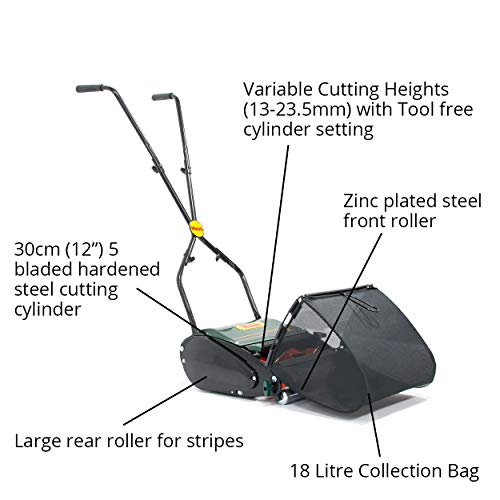 Webb WEH12R Manual Hand Push Cylinder Lawnmower with Roller, Adjustable Cutting Heights, 30cm Cutting Width and 18L Collection Bag - 2 Year Guarantee