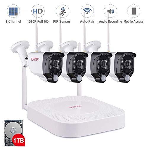 【Mikrofon & PIR Sensor】 Tonton 8CH Full HD 1080P Audio Überwachungskamera mit Audioüberwachung 1TB Festplatte 8CH Recorder mit 4 Außen 1080P Wireless Metallgehäuse Funkkamera mit Tonübertragung