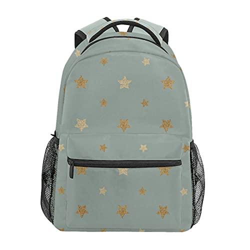 Zainetto con stelle dorate glitterate zaino scuola college viaggio escursionismo moda laptop zaino per donne uomini adolescenti casual borse di tela