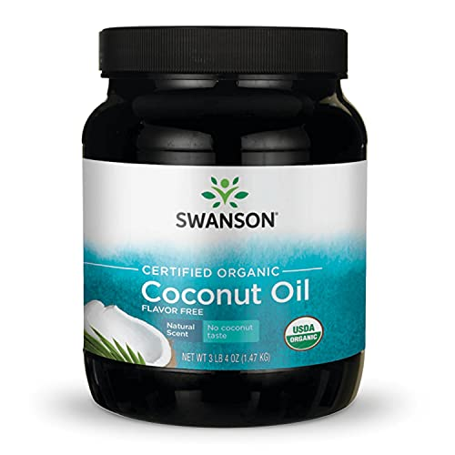 Swanson 100% Certified Organic Flavor Free Coconut Oil Cooking Baking Frying Beauty EFAs MCTs 3 lbs 6 Ounces (1.53 kg) Solid Oil