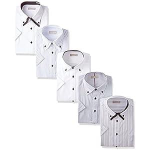 [ドレスコード101] ワイシャツ ビジネスシーンにぴったり 半袖シャツ 5枚セット 形態安定 クールビズ メンズ HA001 首回り43 (日本サイズLL相当)