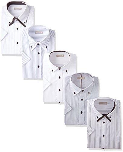 [ドレスコード101] ワイシャツ ビジネスシーンにぴったり 半袖シャツ 5枚セット 形態安定 クールビズ メンズ HA001 首回り43cm