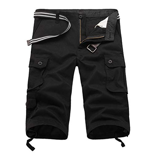 junkai Lässige Herren Twill Cargo Shorts Sommer Mode Sport Strand Reisen Taschen Capri Camouflage Shorts Hosen Schwarz 42